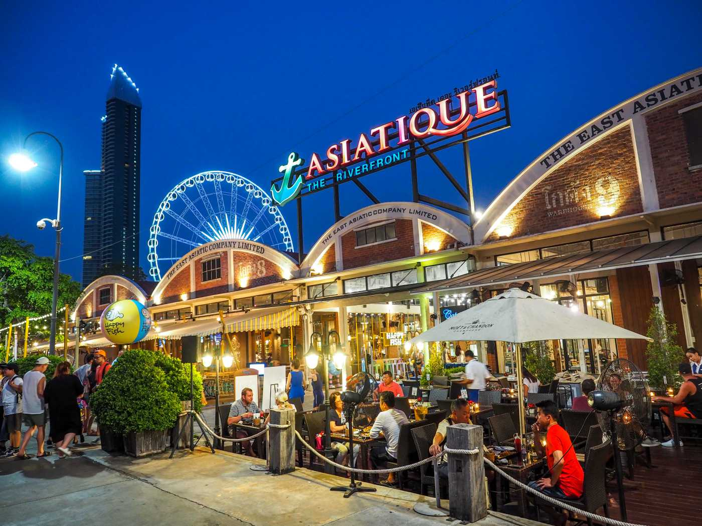 1400 BangkokEditorial Restaurant in Asiatique The riverfront in night time in Bangkok shutterstock 628258946