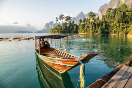 1400 Khao Sok floating bamboo raft with beautiful lake and mountain shutterstock 367537709