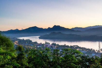 1400 Luang Prabang Maekhong river view when sunset times at Phousi mountain in Luang prabang shutterstock 742618051
