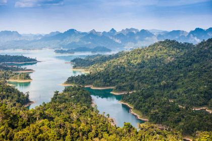 1600 Birdeye view of Ratchaprapha dam Khao sok national park shutterstock 360753998