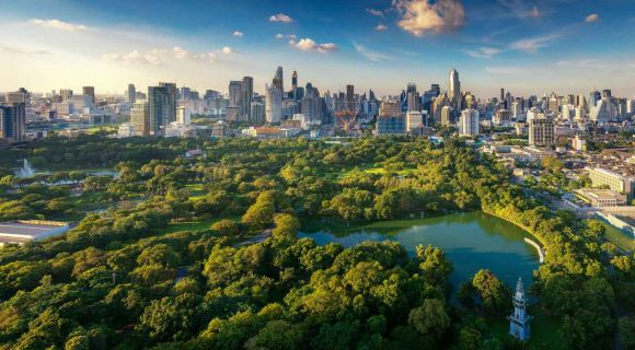 1400 Lumpini park and Bangkok city building view shutterstock 718786717