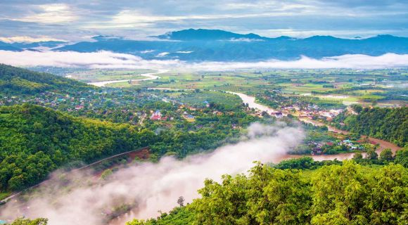 1400 Thaton city in the morning with a mist shutterstock 252188350
